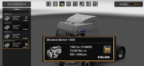 ETS2 -  All Trucks for 1500 HP Engine (1.36.x)