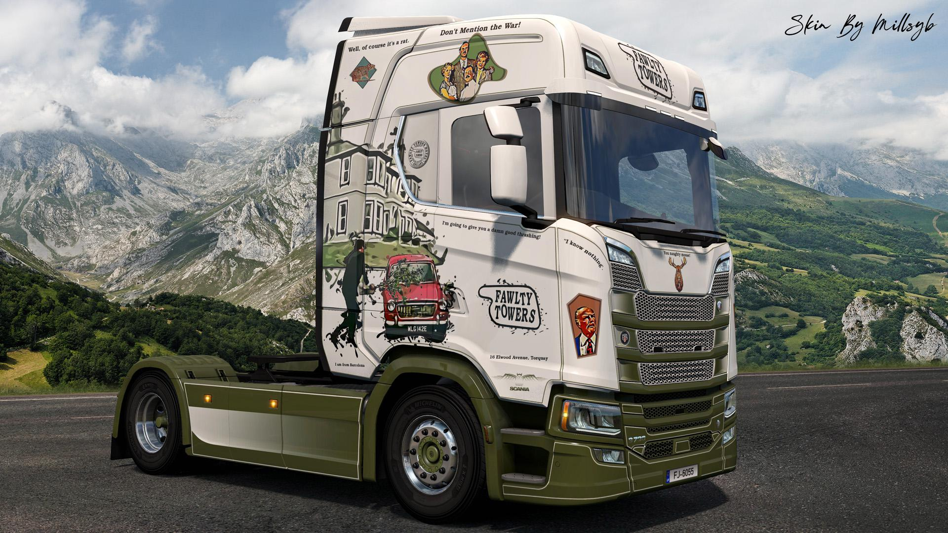ETS2 - Scania NG Fawlty Towers Skin V1.0 (1.36.x)