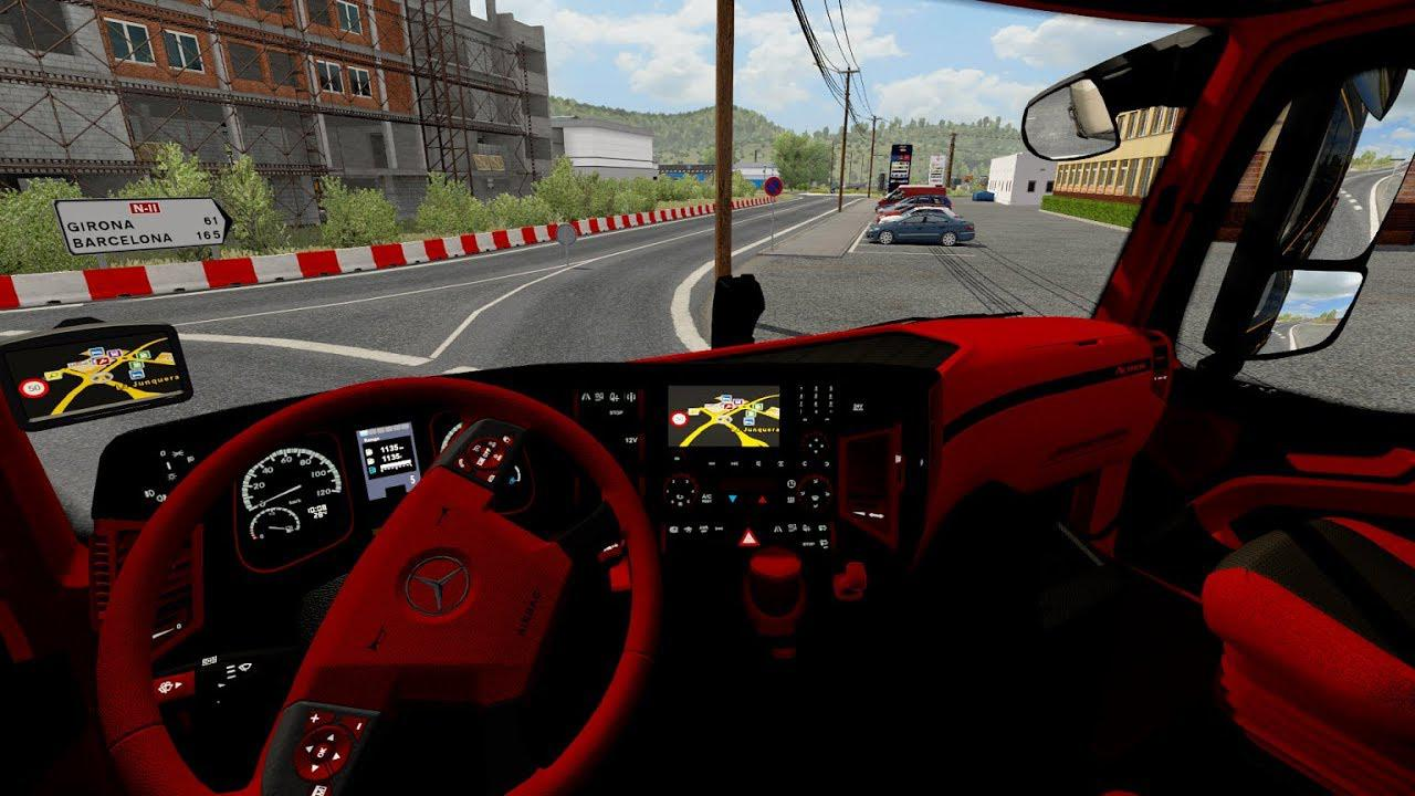 ETS2 - Mercedes Actros Mp4 Red - Black Interior (1.35.x)
