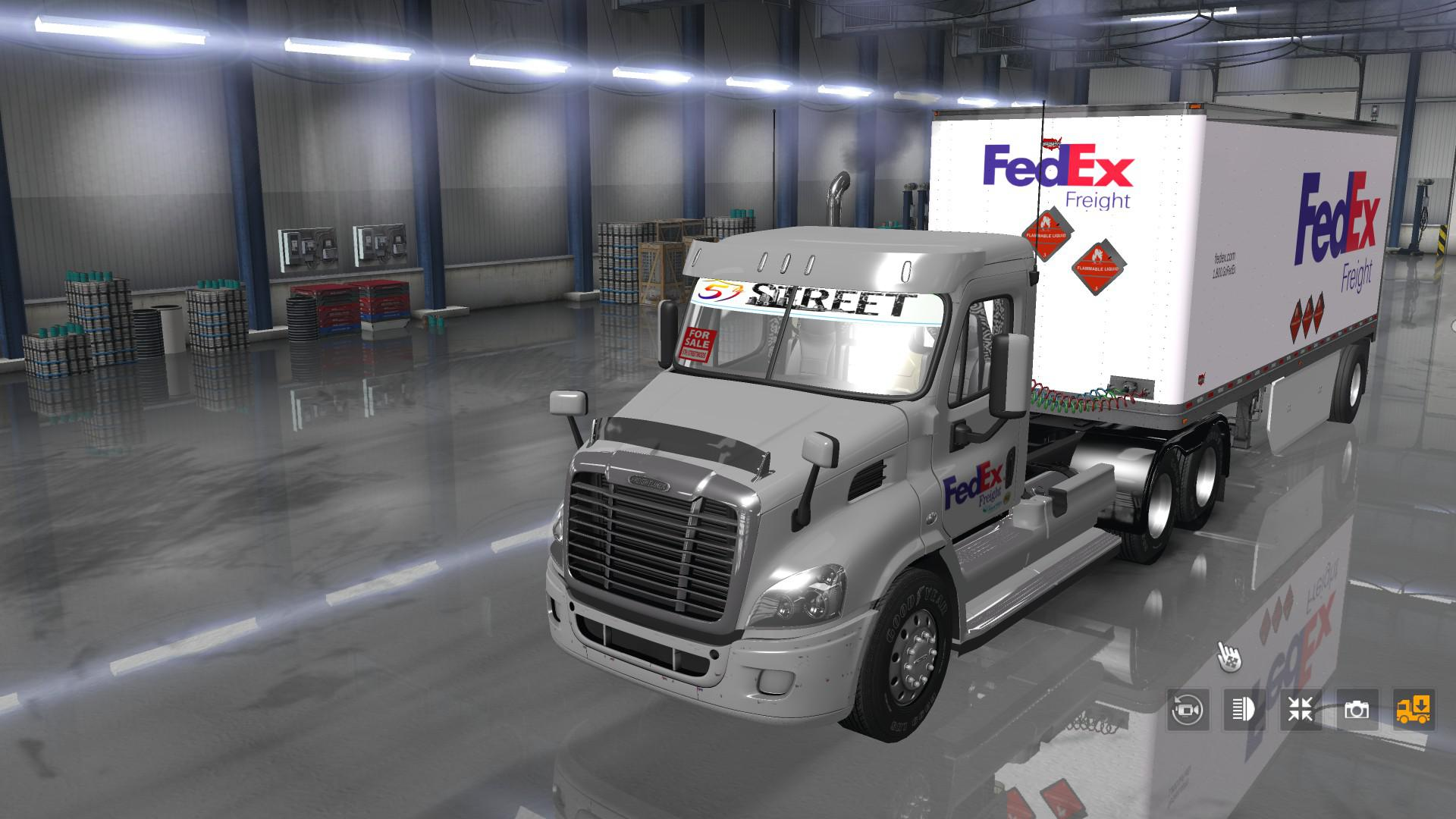 ATS - Fedex Official 28 Pup Trailer with Freightliner Day Cab Truck (1.35.X)