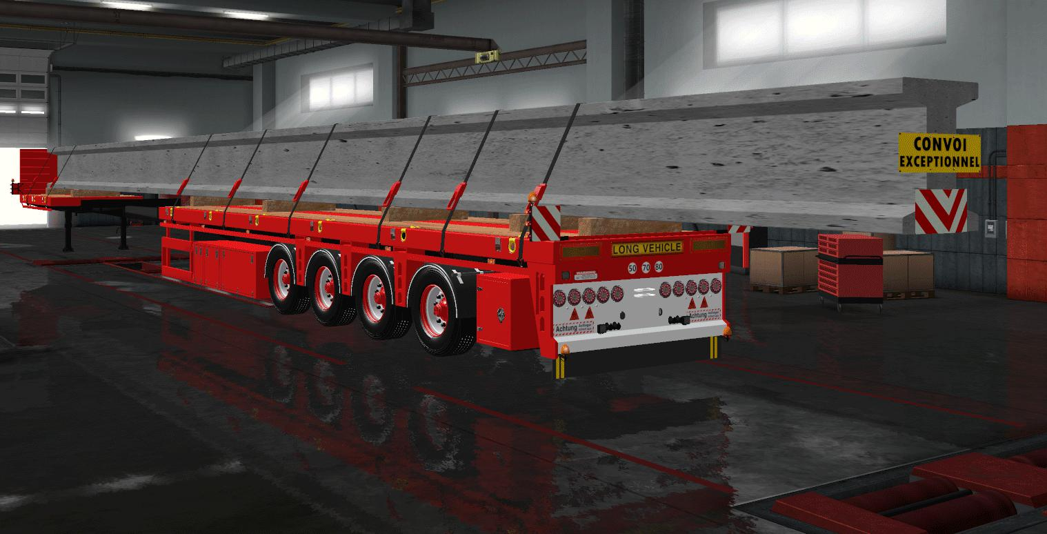 ETS2 - Flatbed 2x Extendable Version And Loading (1.39.x)