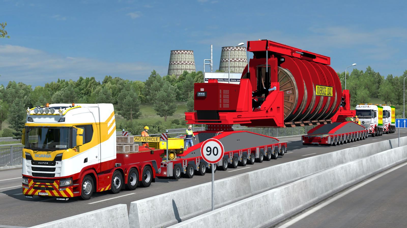 ETS2 - 260 Tons Industrial Cable Reel Transport with Support Trucks (1.38.x)
