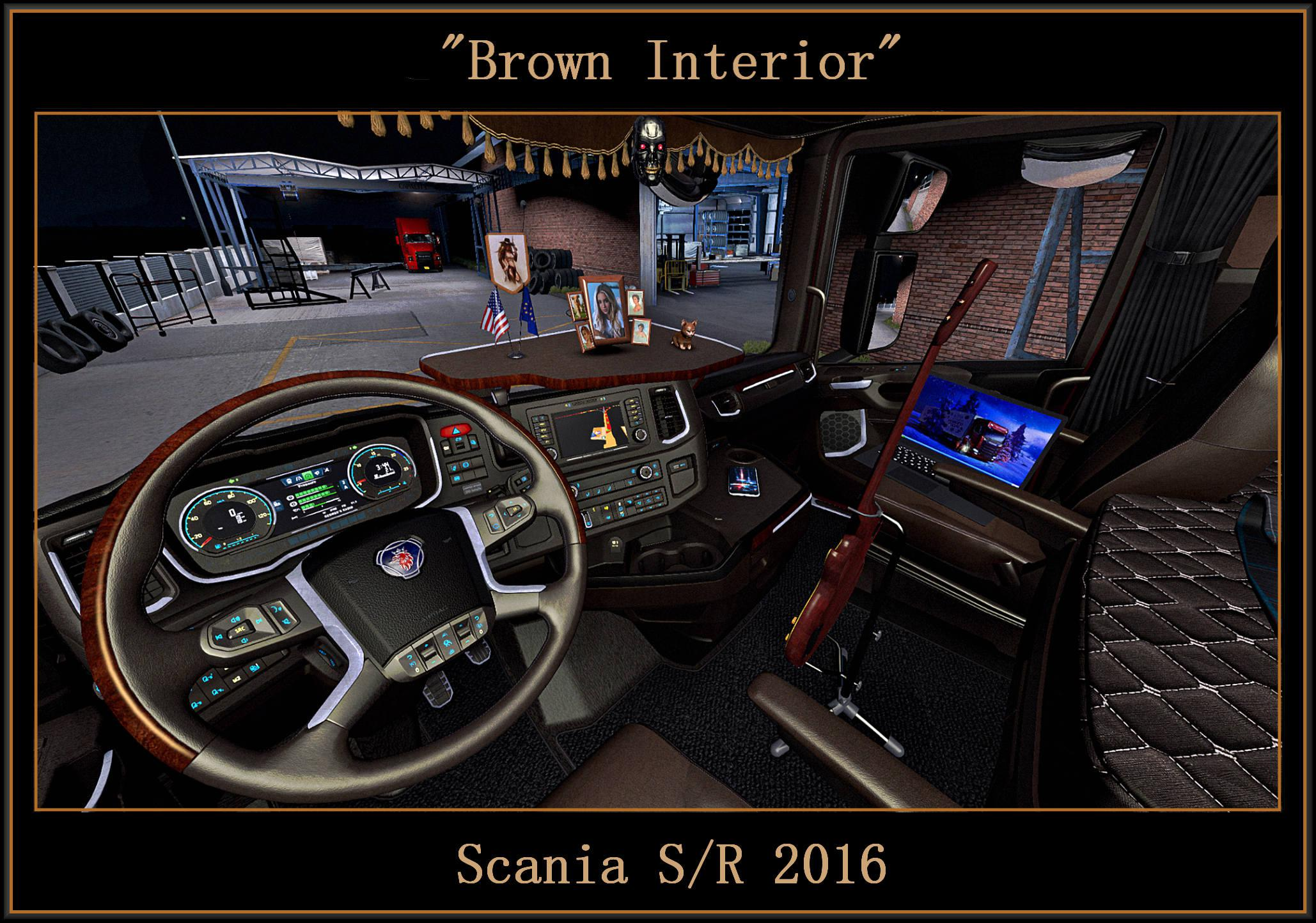 ATS - Brown Interior for Scania S/R 2016 V0.9 (1.39.x)
