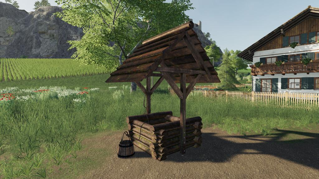 FS19 - Placeable Woodenfountain V1.0