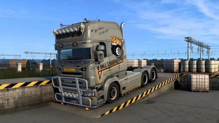 ETS2 - Scania RJL Topline 8 Ball Logistics Skin V1.0 (1.41.x)