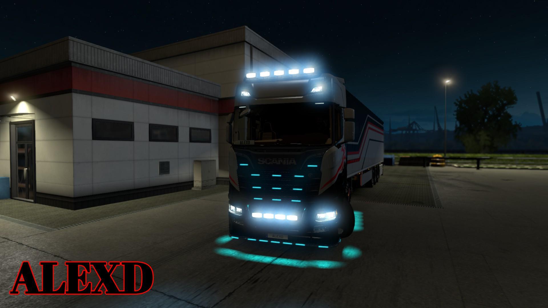 ETS2 - Flare And 10.000K Lights for All Trucks V1.9 (1.36.x)