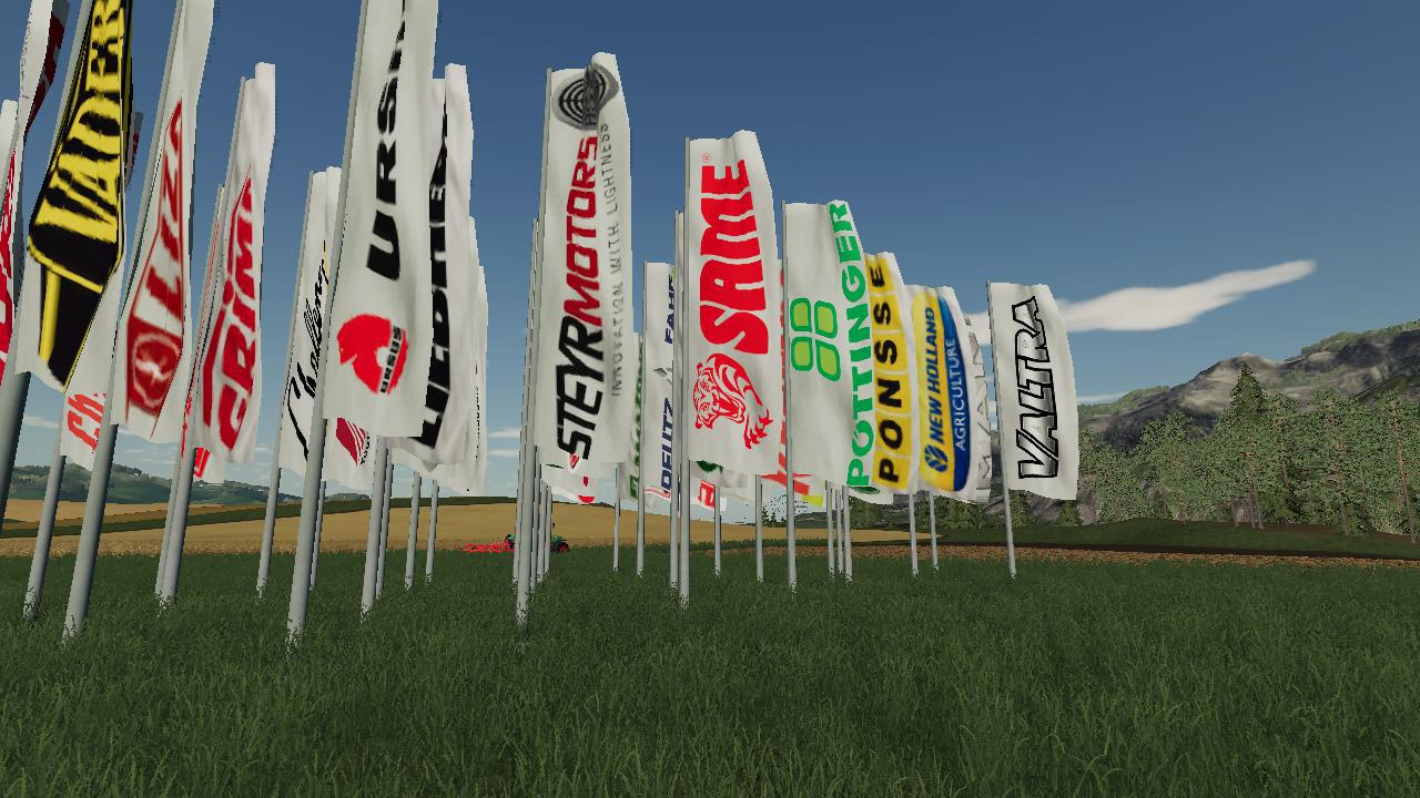 FS19 - Placeable Brand Flags V1.0
