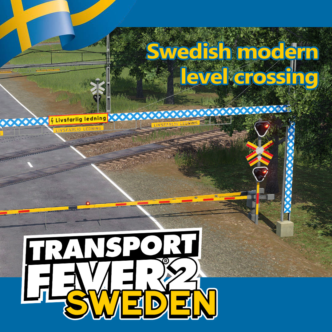 Transport Fever 2 - Swedish Modern Level Crossing V1.0