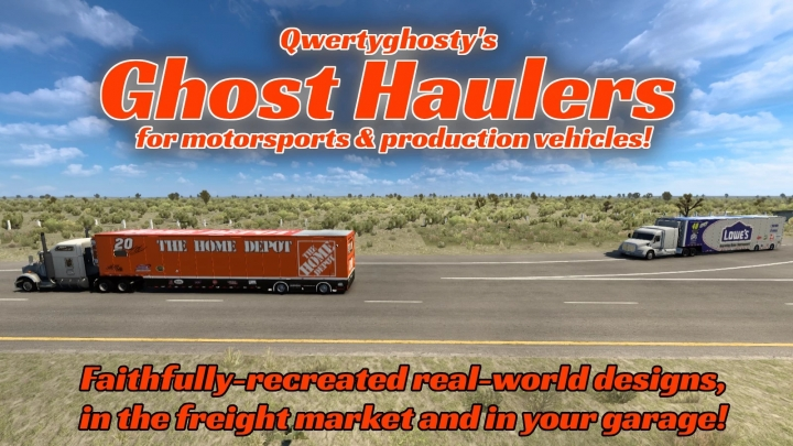 ATS - Ghost Haulers: Skins & Cargoes for Nascar Hauler Reworked (1.40.x)