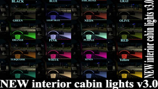 ETS2 - New Interior Cabin Lights V3.0 (1.39.x)