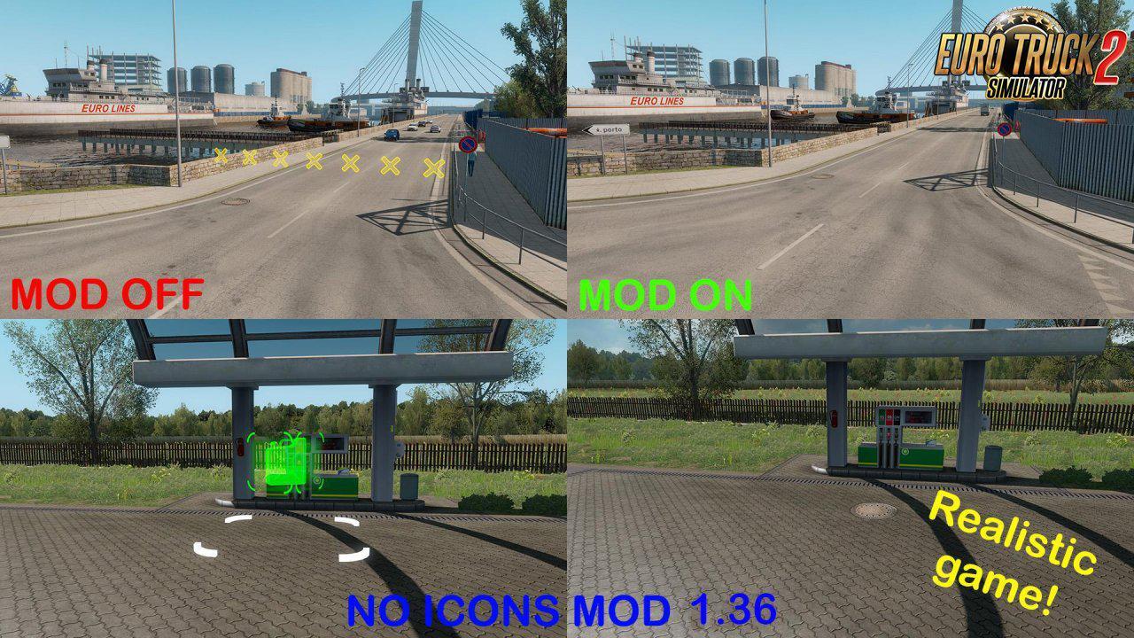 ETS2 - No Icons Mod (1.36.x)