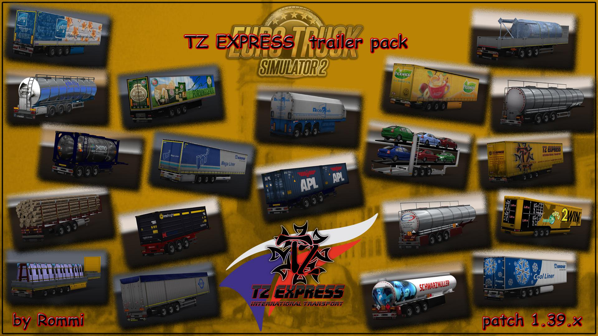 ETS2 - TZ Express Trailers Pack + Ownable Package (1.39.x)