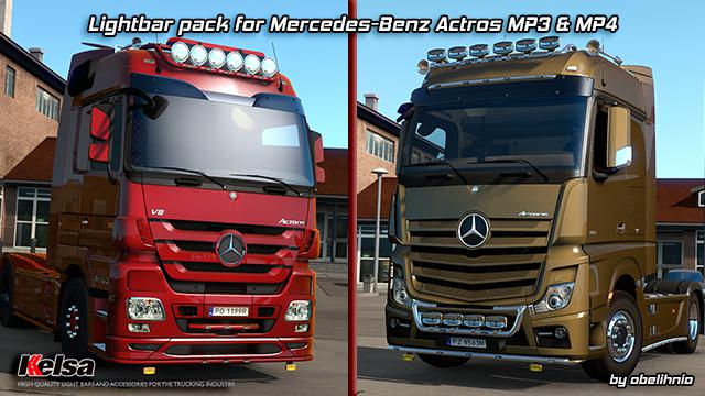 ETS2 - Kelsa Lightbars for Mercedes-Benz Actros MP3 & MP4 (1.36.x)