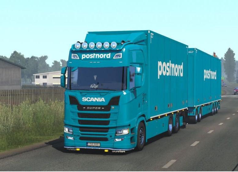 ETS2 - Postnord Tandem Skin for Scania NG V1.0 (1.38.x)