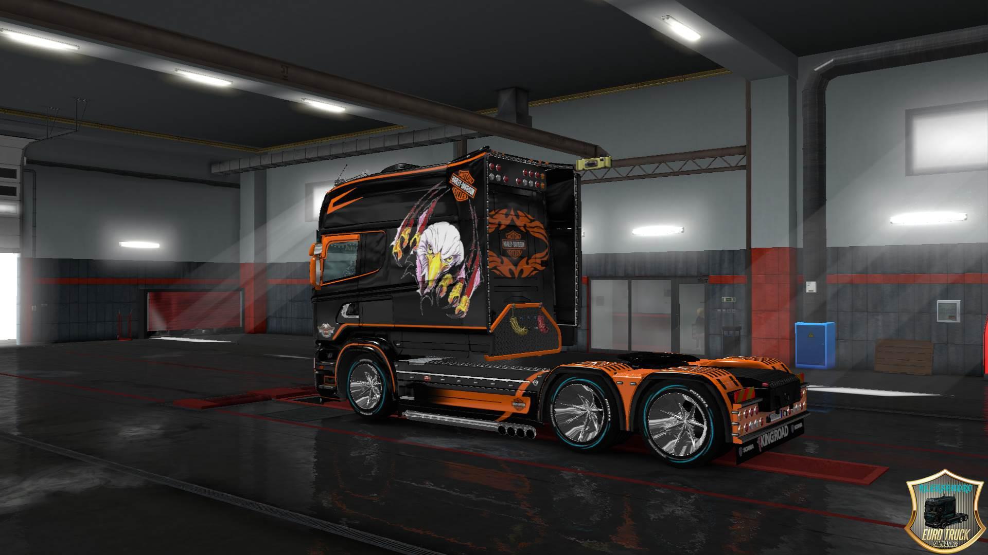 ETS2 - Scania RS, T Longline Harley Davidson Skins V2.0 (1.35.X)