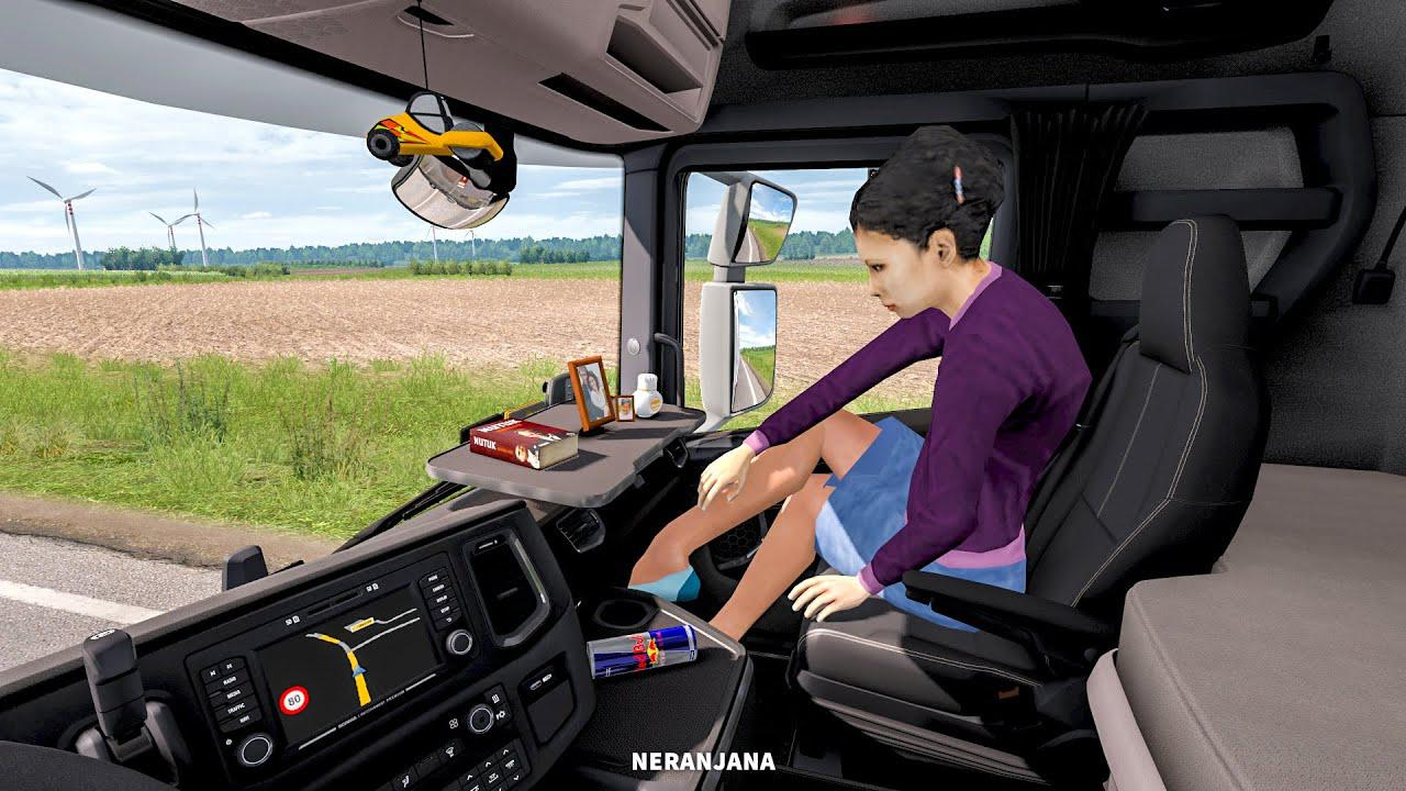 ETS2 - Animated Female Passenger in Truck (With You) V2.3 (1.38.x)