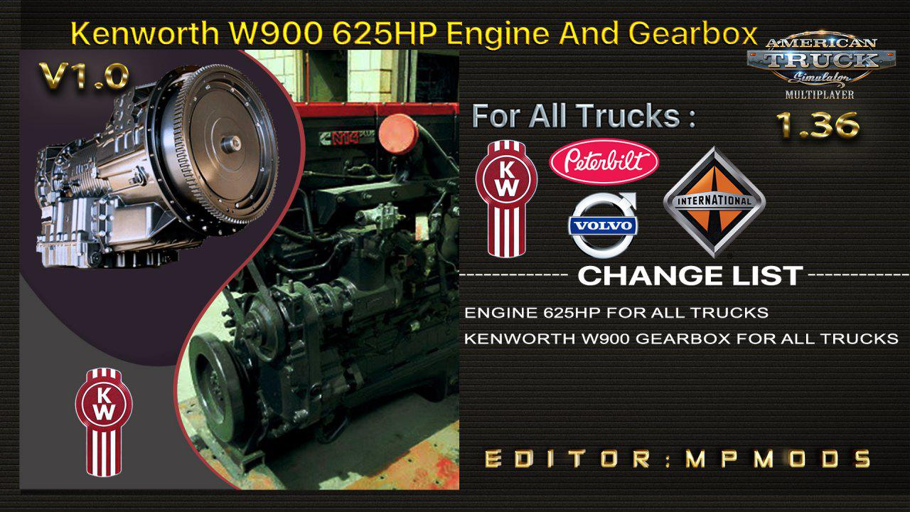 ATS - Kenworth W900 625HP, Gearbox for Daf Trucks V1.0 (1.36.x)