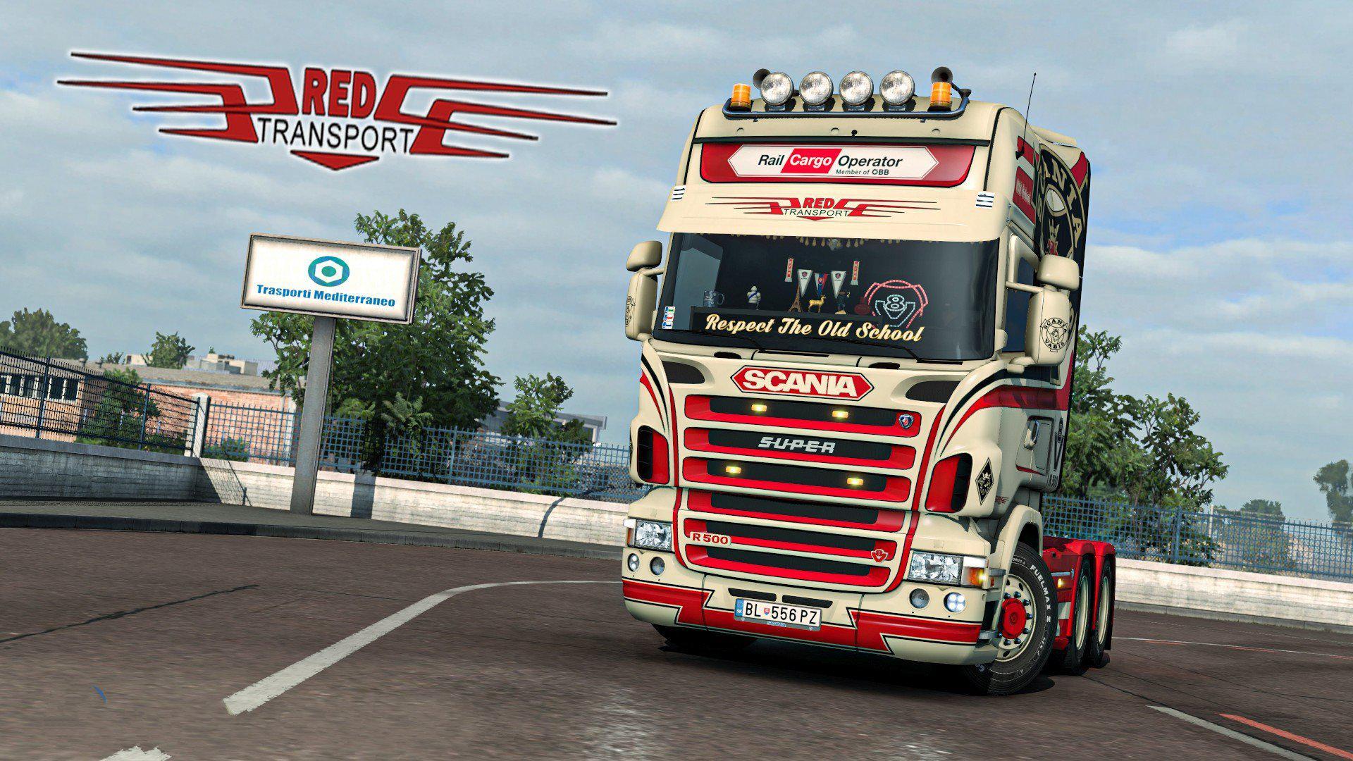 ETS2 - Red Transport Scania RJL Skin V1.0 (1.39.x)